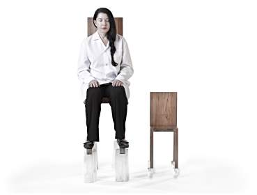 Marina Abramović The Abramovic Method:  Chair for Man and His Spirit  Materials: Wood, Selenite.  2012 ©Marina Abramović  by SIAE 2012, courtesy Marina Abramović  Archives and Sean Kelly, NY