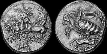 Decagramma d'argento di Akragas coniato tra il 409 e il 406 a.C. © Courtesy of Nomos AG and Classical Numismatic Group