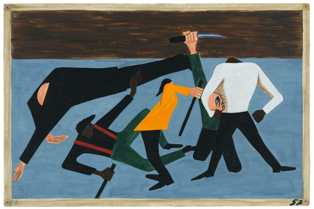 Jacob Lawrence, «One of the largest race riots occurred in East St. Louis», pannello 52 di «The Migration Series», 1940-41, New York, The Museum of Modern Art. © 2015 The Jacob and Gwendolyn Knight Lawrence Foundation, Seattle / Artists Rights Society (ARS), New York. Digital image © The Museum of Modern Art/Licensed by SCALA / Art Resource, NY