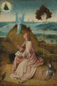 Hieronymus Bosch, «San Giovanni a Patmos», 1490-95 ca, Berlino, Gemäldegalerie. Rik Klein Gotink and image processing Robert G. Erdmann for the Bosch Research and Conservation Project
