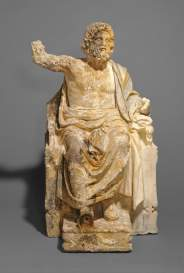 Artista ignoto, Statua di Zeus in trono, circa 100 d.C., marmo, 74 × 46 × 45,6 cm, già The J. Paul Getty Museum, Los Angeles