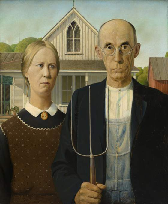 Grant Wood (1891–1942), «American Gothic», 1930.  Art Institute of Chicago © Figge Art Museum, successors to the Estate of Nan Wood Graham/Licensed by VAGA, New York, NY. Photograph courtesy Art Institute of Chicago/Art Resource, NY