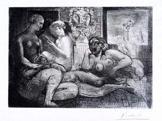 Pablo Picasso «Four Nude Women and a Sculpted Head» da «La Suite Vollard. Quatre Femmes Nues et Tête Sculptée» 1934. Acquaforte e puntasecca, esposto dalla Gilden's Art Gallery
