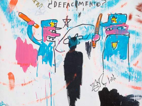 «The Death of Michael Stewart» (1983) di Jean-Michel Basquiat (particolare), New York, Collezione Nina Clemente. © Estate of Jean-Michel Basquiat. Licensed by Artestar, New York. Foto: Allison Chipak © Solomon R. Guggenheim Foundation, 2018