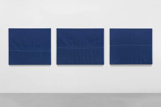Renato Leotta, Orizzonte, 2019 Cotton, seawater, 3 parts, 80 x 28,7 cm (each) unique photo Sebastiano Pellion Di Persano Courtesy Galeria Madragoa, Lisboa