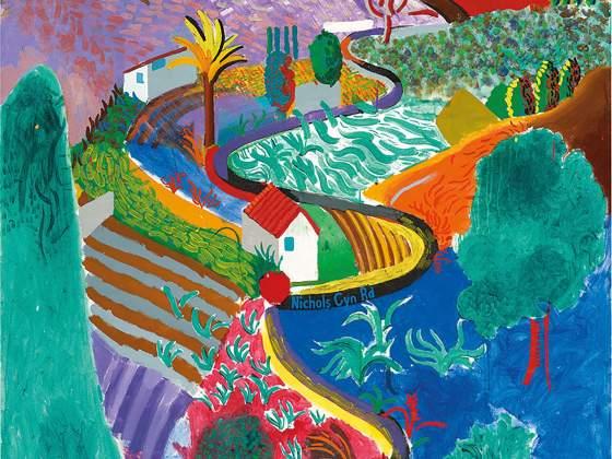"""""""Nichols Canyon"""" (détail) de David Hockney à 41,1 millions de dollars de Phillips"""
