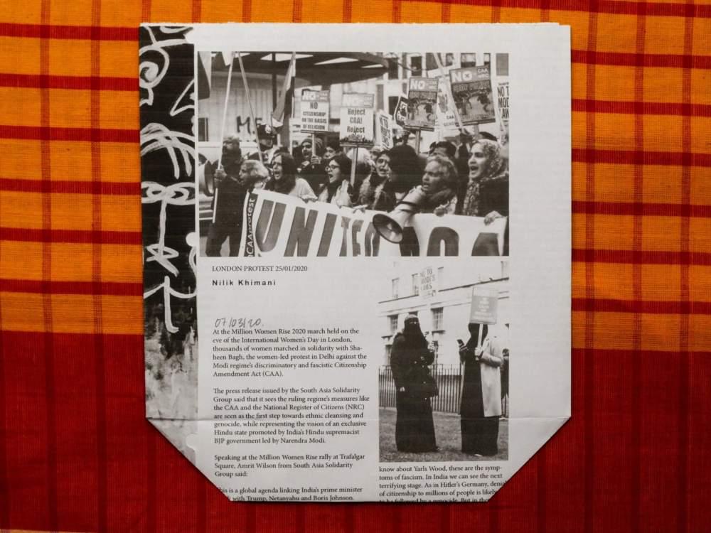 «Samosa packet on protests against the CAA laws», parte del progetto «Turbine Bagh» di Sofia Karim. Foto: Sofia Karim